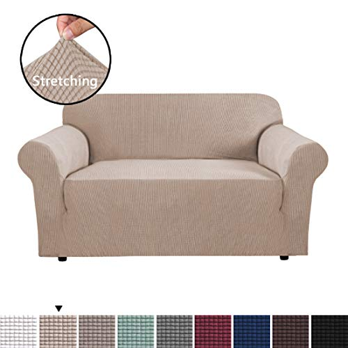 H.VERSAILTEX 1 Piece Sofa Cover for Loveseat Machine Washable Jacquard Spandex Sofa Slipcover Furniture Cover/Protector for 2 Cushion Couch, Soft Stretch Skid Resistance Couch Cover, Sand (Cushions And Covers)