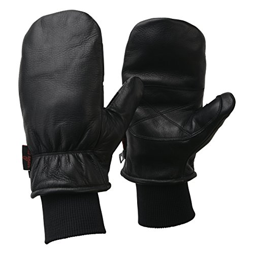 Aspen Waterproof Leather Ski Mittens Warm Winter Gloves Black XL