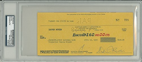 David Niven Signed Authentic Autographed Check Slabbed PSA/DNA #83393981