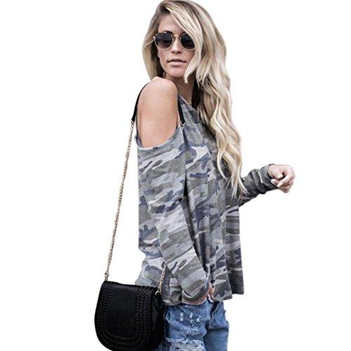 Gillberry 2017 Women Off Shoulder CamouflageLong Sleeve Blouse Tops T-Shirt