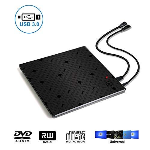 Touch Control USB 3.0 Slim External DVD CD Drive, Beaucares High Speed Data Transfer DVD/CD +/-RM Writer Burner Re-Writer DVD CD ROM Drive for MacBook Pro/Laptops/Desktops/Notebook(Black) (Burner Grid)