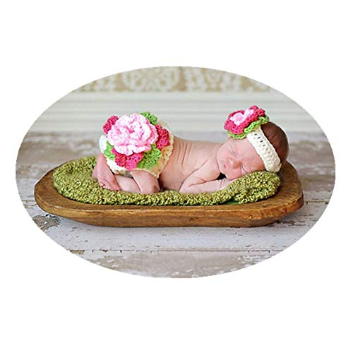 Fashion Cute New Born Boy Girl Baby Costume Outfits Photography Props Flower Headdress Shorts