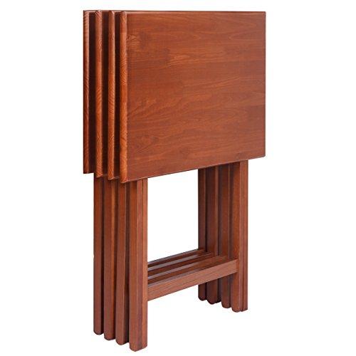 (4 PCS Portable Wood Laptop Serving TV Table Folding Tray Desk Serving Breakfast Saver Furniture)