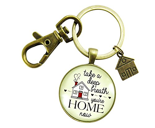 New Home Keychain Take a Deep Breath You're Home Now First House Realtor Gift Key Chain Vintage Bronze Style House Charm