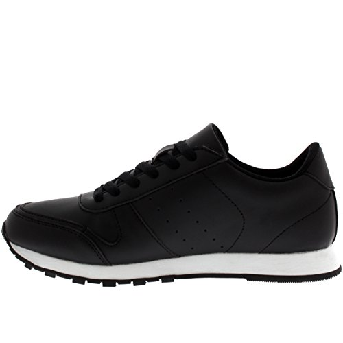 Mens Fitness Casual Work Out Low Top Flat Lace Up Athletic Gym Sneakers Black/White yKxKKnx