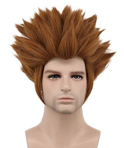 Karlery Mens Short Straight Dark Brown Wig Halloween Costume Wig Cosplay Party -