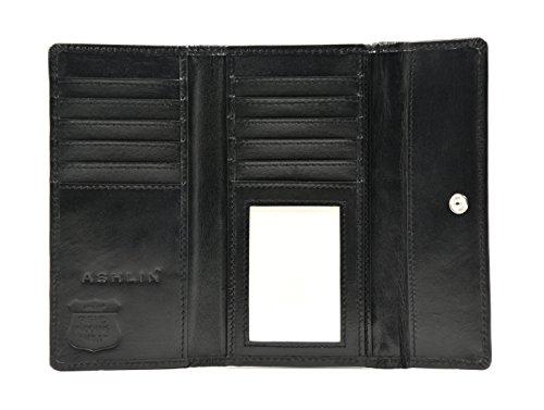 Ashlin RFID BLOCKING Cashmere Lambskin Leather Women's Wallet, Black (RFIDL5910-07-01)