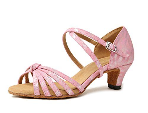 Cross Wedding Minitoo Ladies Pink Dancing Strap Sandals Shoes 4 Synthetic Knot 8cm GL258 Latin Heel zA4wqAt