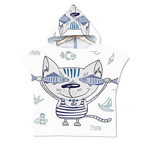 Ocean Animal Decor Soft Hooded Beach Bath Towel,Naughty Cat with Fish in Striped T Shirt Anchor Pendant and Nautical Sign for Teenagers & Children,29.5''W x 43.3''H