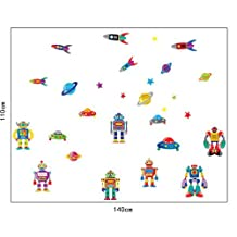 Prettywall Home Decor Mural Vinyl Wall Sticker Colorful Space Craft Transformers Robots Kids Nursery Room Wall Art Decal Paper