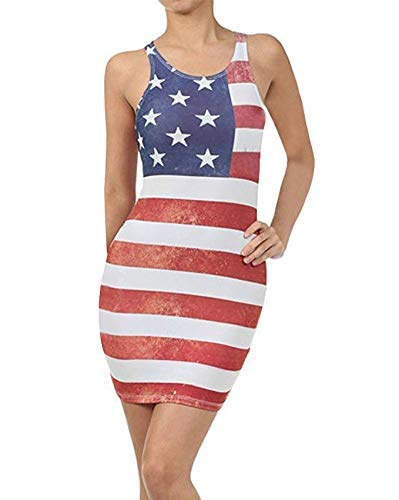 Independence Day Dress Women Sleeveless Crewneck T Shirt Dresses USA Flag Print Stars Red and White Stripes Color Block Racerback Tank Bodycon Midi Dress Casual Sundress Plus Size