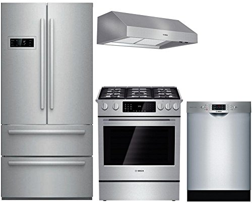 "Bosch 4-Piece Stainless Steel Kitchen Package with B21CL80SNS 36"" French Door Refrigerator, HDI8054U 30"" Slide-In Dual Fuel Range, DPH30652UC 30"" Under Cabinet Hood, and SGE68U55UC 24"" Full Console Di"