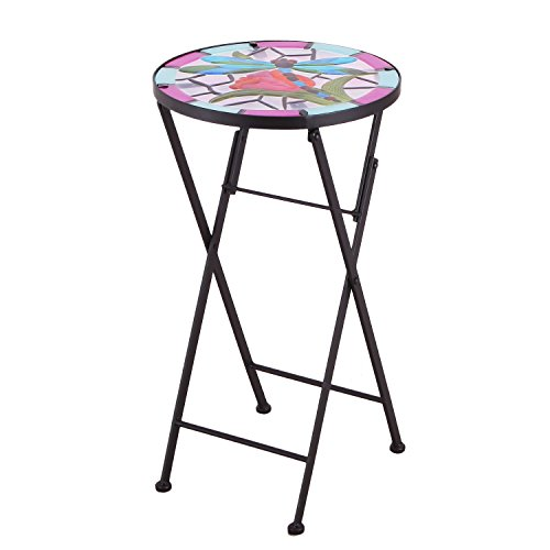 Scuff Base End (Adeco Round Side Table Plant Stand Flower Holder Accents Serving Snack Tea, Embossed Artistic Pattern Glass Top, Foldable)