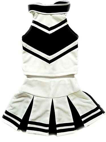 Little Girls' Cheerleader Cheerleading Outfit Uniform Costume Cosplay Halloween White/Black (XL / 10-12)