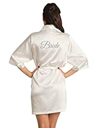 Zynotti Women's Glitter Bride Bridal Party Titles Getting Ready Wedding Satin Robe