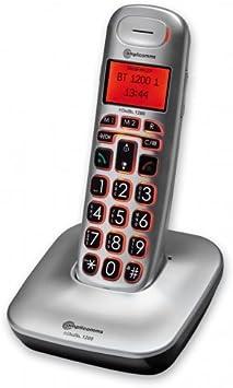 amplicomms BigTel 1200 - Teléfono (Teléfono DECT, Terminal inalámbrico, 100 entradas, Identificador de Llamadas, Negro, Plata): Amazon.es: Electrónica