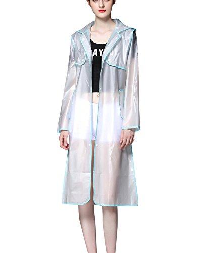 Femme Transparent Manteau De Pluie Impermable Veste Capuche Effacer Respirant Bleu