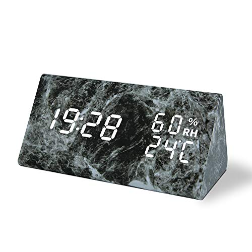 Marble Alarm Clock, Digital Clock Imitation Marble Triangle Clock with Temperature and Humidity Display Sound Control Desk Clock for Bedroom, Home, Office(Black)