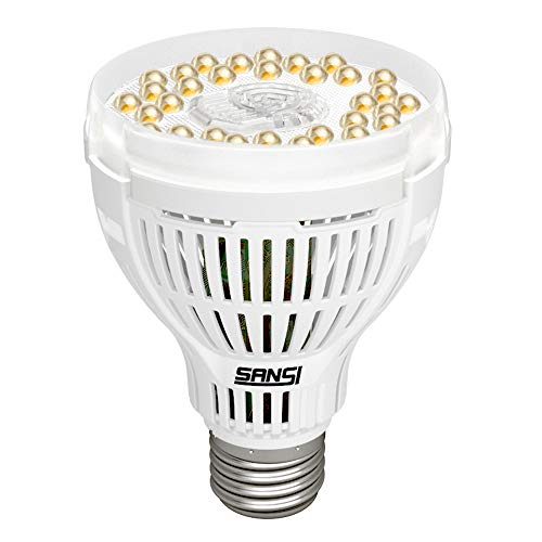 SANSI 15W LED Grow Light Bulb, Daylight White Full Spectrum Grow Lights for Indoor Plants, LED Plant Light Bulbs for Indoor Garden Houseplants, Commercial Hydroponic Horticulture, Ceramic E26 A21 120V
