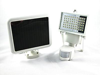 Solar Light Bright 60 LED Outdoor Solar Power Motion Sensor Security Lights - Weatherproof for Garden, Wall, Patio - White