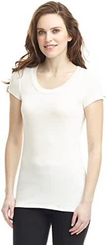 Rekucci Women's Perfectly Soft Basic Fitted Short Sleeve Scoop Neck T Shirt
