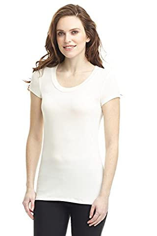 Rekucci Women's Perfectly Soft Basic Fitted Short Sleeve Scoop Neck Top (X-Small,Ivory) - Womens Fitted Cap Sleeve Tee