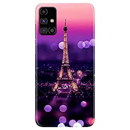 Abaci® Compatible for Samsung Galaxy M31s(2020) Eiffel Tower Mobile Phone Back Cover Case Designer 3D Printed Hard Plastic Latest Accessory Pink for Girls & Boys