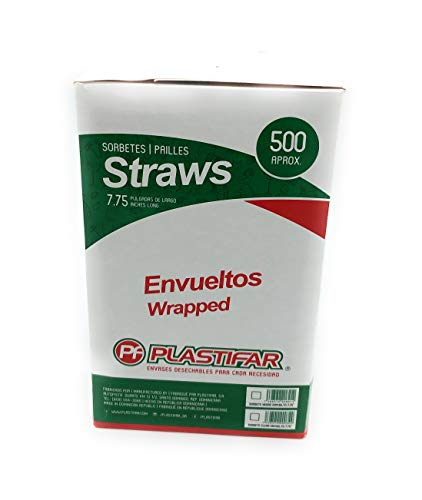 500 4in Straws - Plastifar Disposable Rigid Plastic Drinking Straws,Clear,Individually Wrapped, Food Safe,500 Aprox./Box 7 ¾ Inches Long,0.21 Inch Diameter