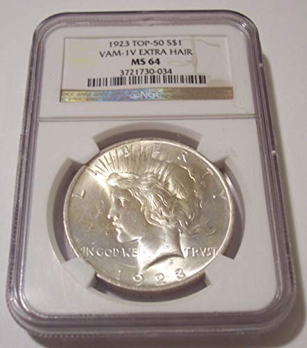 1923 Peace Silver VAM-1V TOP-50 Extra Hair R6 Dollar MS64 NGC