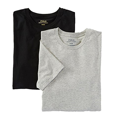 Polo Ralph Lauren Stretch Cotton T-Shirt 2-Pack, L, Andover Grey/Black