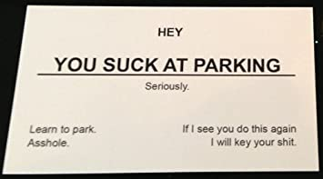 You suck at parking business cards 10 pack double sided message you suck at parking business cards 10 pack double sided message colourmoves