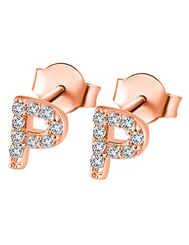 14K Rose Gold Plated Sterling Silver CZ Initial Letter P Stud Earrings