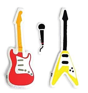 DOIY Band - Juego de cojines (3 unidades, algodón y poliéster, 35x8x5cm, 58x22x5cm, 45x4x5cm), diseño de guitarras eléctricas y micrófono