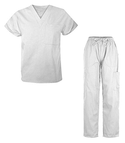 G Med Unisex Scrub Set V-neck Top and Pant 2 PC - Unisex Top Nursing Scrubs