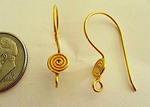 3 Pair Bali Sterling Silver Vermeil Swirls Earwires 20mm ()
