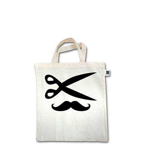 Handwerk - Hairdresser Moustache - Unisize - Natural - XT500 - Fairtrade Henkeltasche / Jutebeutel mit kurzen Henkeln aus Bio-Baumwolle