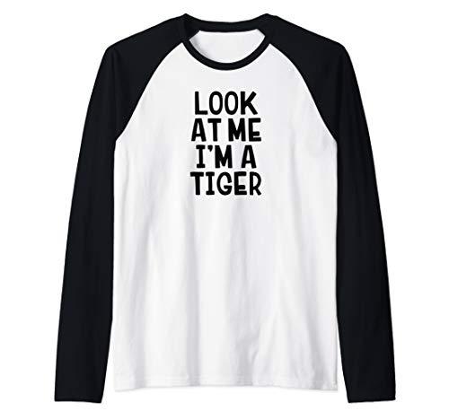 Look At Me I'm A Tiger Funny Halloween Costume Raglan Baseball Tee]()