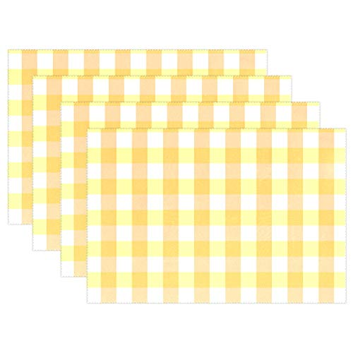 AIKENING Scrapbook Scrapbooking Checks Gingham Paper Placemats Set of 4 Heat Insulation Stain Resistant for Dining Table Durable Non-Slip Kitchen Table Place -