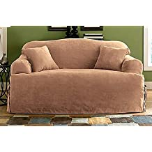Sure Fit Soft Suede T-Cushion Sofa Slipcover, Sable [Misc.]