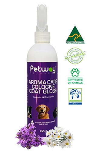 Dog Cologne Spray | Pet Deodorizer | Pet Cologne | Pet Odor Eliminator - Aroma Care Coat Gloss with Lavender & Chamomile Fragrance, Finishing Spray for Anxious & Stressed Animal, Vitamin E - 250ml by PETWAY