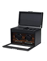 Men's Faux Leather Wooden Frame Double Watch Winder w/ Storage Box Travel Case Glass Cover Key Lock