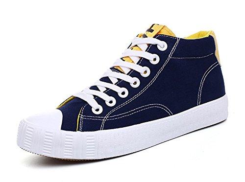 Aisun Hombres Casual Casual Round Toe Lace Up Platform Zapatillas De Lona Planas Zapatos Azul