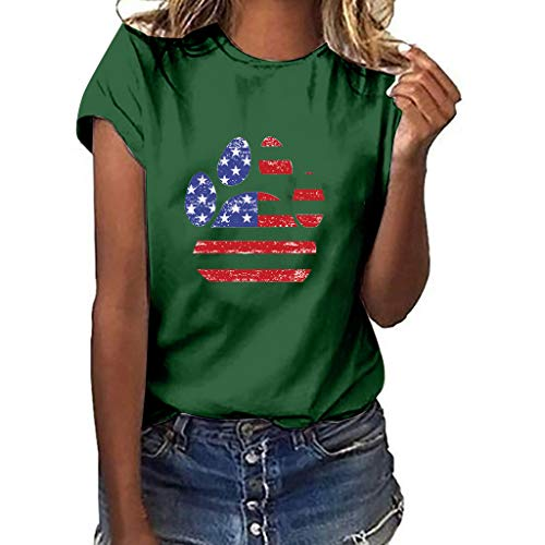 (WILLBE Short Sleeve Top Independence Day Print Women Plus Size Victory Dog Claw Print Short Sleeve Joker Comfort Top Green )