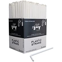 Crystalware Flexible Plastic Drinking Straws - White, Individually Wrapped, Food-Safe BPA Free, 380/Box – 7 ¾ Inches Long
