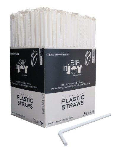 Crystalware, Flexible Drinking Straws, 380/box Individually Wrapped, Food-Safe BPA-Free Plastic, 7 3/4 Inches Long, Cold or Hot Drinks, White (Drinking Straws)