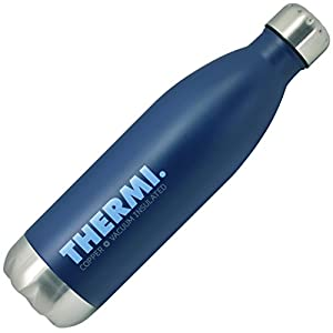 Thermi Vacuum Insulated Cold Hot Bottle - Double Walled Stainless Steel Water Thermos Cup - Compare to S'well, Contigo, Yeti, Hydro Flask - Cola Style Sports Tumbler (Midnight Blue, 25oz)