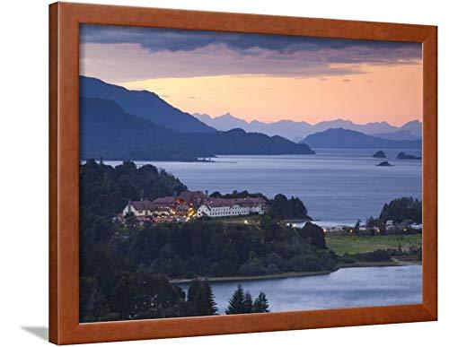 ArtEdge Rio Negro Province District, Hotel Llao Lake Nahuel Huapi, Dusk, Argentina Walter Bibikow, Brown Framed Wall Art Print, 18x24 in