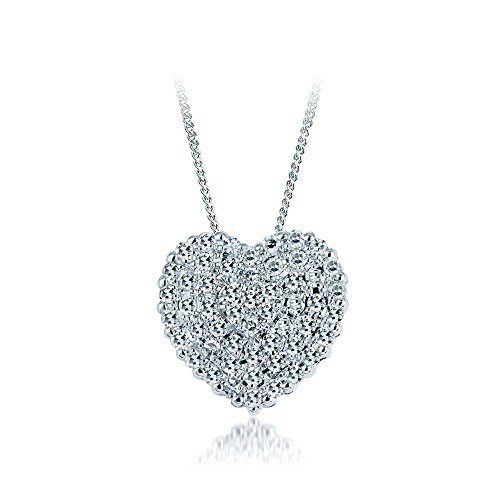 Heart Diamond Pendant necklace Round Diamonds 0.20 carat,14k white gold.