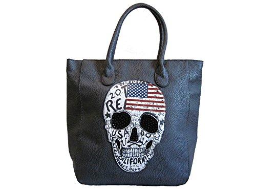 Shopper Handtasche Mit USA Totenkopf Schultertasche Damen Tasche Grau Skull  Amerika Design CBmxRSa