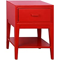 Tonality Designs Enid Mid Century Nightstand, Red